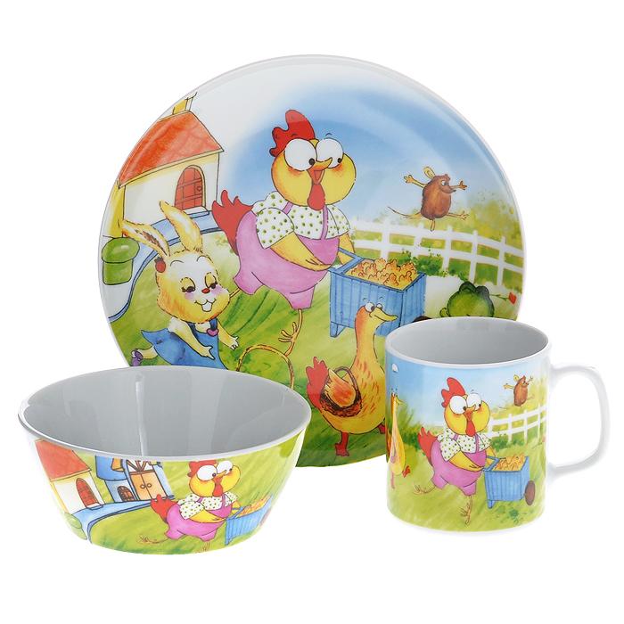 Набор детской посуды Legendale, 3 предмета. SHS4201SHS4201Набор детской посуды Legendale состоит из тарелки, супницы и чашки. Предметы набора изготовлены из высококачественного фарфора белого цвета. Изделия оформлены красочным изображением зверят. Яркий красочный набор привлечет внимание ребенка и сделает завтраки и обеды веселым занятием. Кроме того, набор очень функционален, в нем есть вся необходимая посуда. Можно использовать в микроволновой печи и мыть в посудомоечной машине.