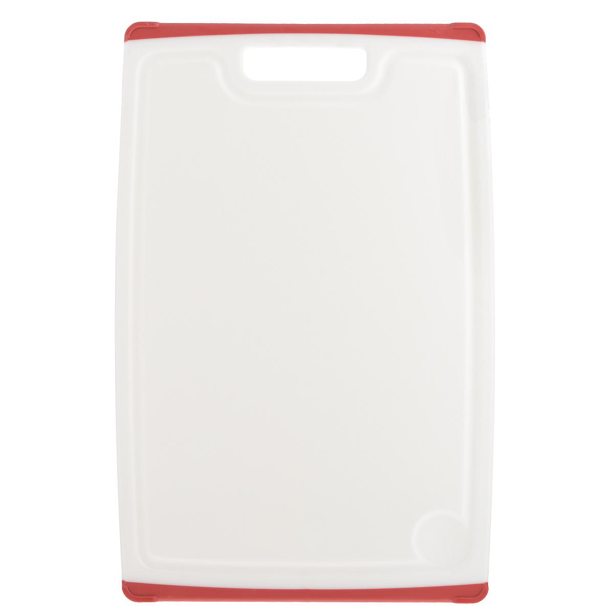 Доска разделочная Tescoma Cosmo, цвет: красный, 40 см х 26 см379216Разделочная доска Tescoma Cosmo, изготовленная из высококачественного прочного пластика, станет незаменимым атрибутом приготовления пищи. Она идеально подходит для разделки мяса, рыбы, приготовления теста и нарезки любых продуктов. А особый дизайн краев с желобком способствует задерживанию жидкостей и остатков продуктов. Изделие оснащено прорезиненными цветными вставками с двух сторон для предотвращения скольжения по столу. Доска предназначена для ежедневного интенсивного использования. Не затупляет лезвия. Современный стильный дизайн и функциональность разделочной доски Tescoma Cosmo, позволит занять ей достойное место на вашей кухне. Можно мыть в посудомоечной машине.