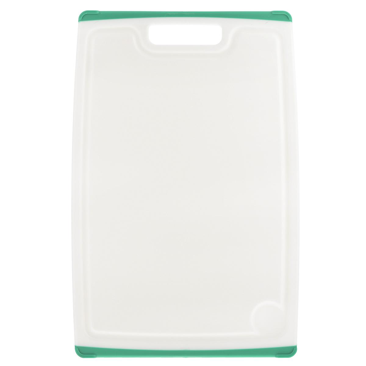 Доска разделочная Tescoma Cosmo, цвет: зеленый, 40 х 26 см379216Разделочная доска Tescoma Cosmo, изготовленная из высококачественного прочного пластика, станет незаменимым атрибутом приготовления пищи. Она идеально подходит для разделки мяса, рыбы, приготовления теста и нарезки любых продуктов. А особый дизайн краев с желобком способствует задерживанию жидкостей и остатков продуктов. Изделие оснащено прорезиненными цветными вставками с двух сторон для предотвращения скольжения по столу. Доска предназначена для ежедневного интенсивного использования. Не затупляет лезвия. Современный стильный дизайн и функциональность разделочной доски Tescoma Cosmo, позволит занять ей достойное место на вашей кухне. Можно мыть в посудомоечной машине.