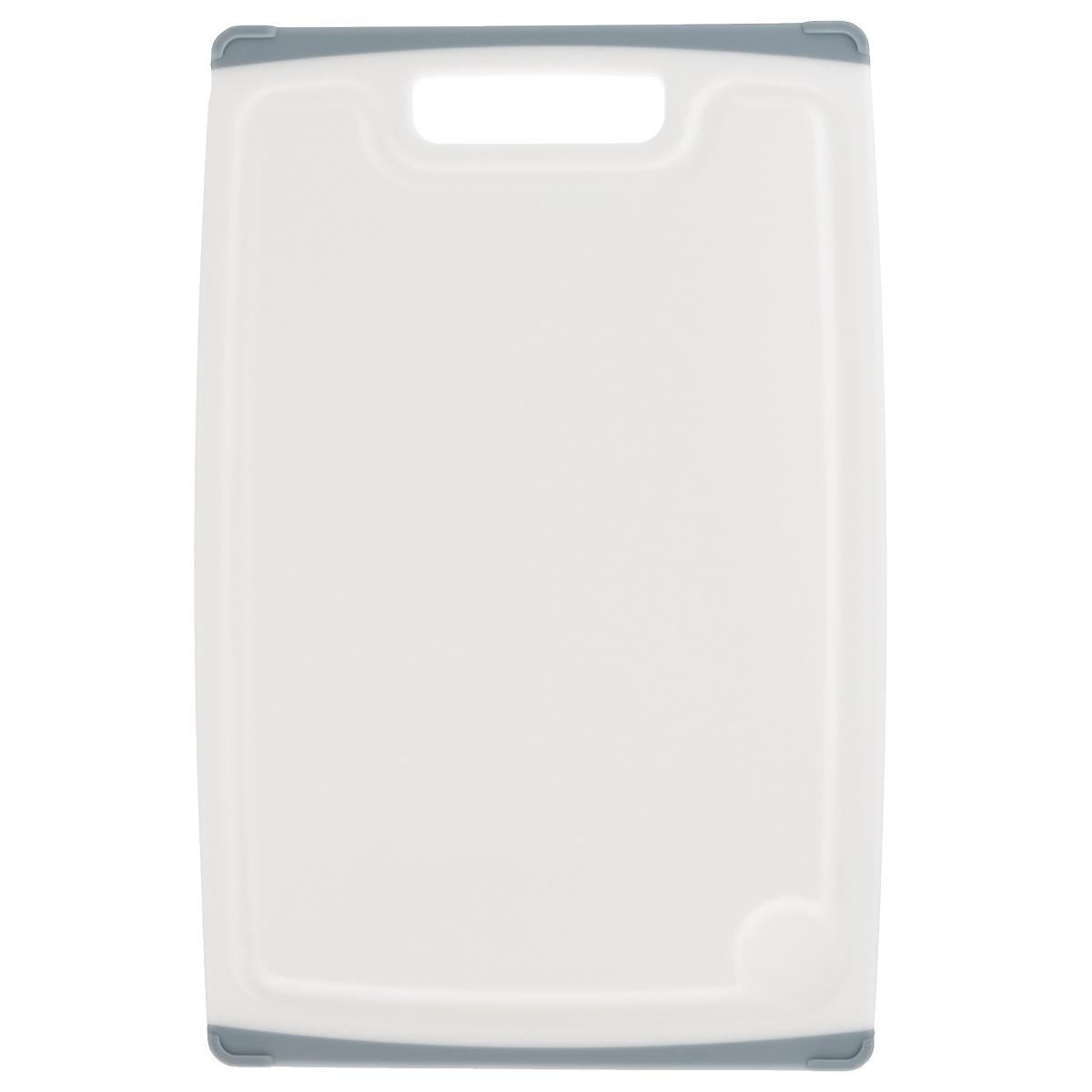 Доска разделочная Tescoma Cosmo, цвет: серый, 36 х 24 см379214Разделочная доска Tescoma Cosmo, изготовленная из высококачественного прочного пластика, станет незаменимым атрибутом приготовления пищи. Она идеально подходит для разделки мяса, рыбы, приготовления теста и нарезки любых продуктов. А особый дизайн краев с желобком способствует задерживанию жидкостей и остатков продуктов. Изделие оснащено прорезиненными цветными вставками с двух сторон для предотвращения скольжения по столу. Доска предназначена для ежедневного интенсивного использования. Не затупляет лезвия. Современный стильный дизайн и функциональность разделочной доски Tescoma Cosmo, позволит занять ей достойное место на вашей кухне. Можно мыть в посудомоечной машине.