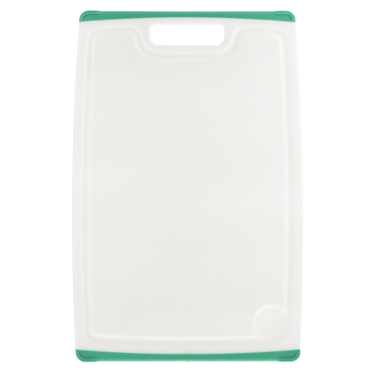 Доска разделочная Tescoma Cosmo, цвет: зеленый, 36 см х 24 см379214Разделочная доска Tescoma Cosmo, изготовленная из высококачественного прочного пластика, станет незаменимым атрибутом приготовления пищи. Она идеально подходит для разделки мяса, рыбы, приготовления теста и нарезки любых продуктов. А особый дизайн краев с желобком способствует задерживанию жидкостей и остатков продуктов. Изделие оснащено прорезиненными цветными вставками с двух сторон для предотвращения скольжения по столу. Доска предназначена для ежедневного интенсивного использования. Не затупляет лезвия. Современный стильный дизайн и функциональность разделочной доски Tescoma Cosmo, позволит занять ей достойное место на вашей кухне. Можно мыть в посудомоечной машине.