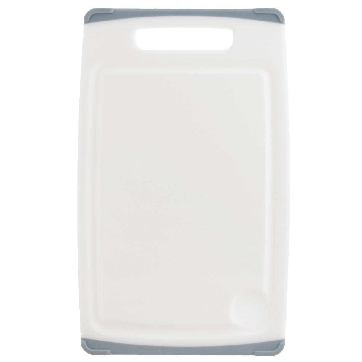 Доска разделочная Tescoma Cosmo, цвет: серый, 30 см х 20 см379212Разделочная доска Tescoma Cosmo, изготовленная из высококачественного прочного пластика, станет незаменимым атрибутом приготовления пищи. Она идеально подходит для разделки мяса, рыбы, приготовления теста и нарезки любых продуктов. А особый дизайн краев с желобком способствует задерживанию жидкостей и остатков продуктов. Изделие оснащено прорезиненными цветными вставками с двух сторон для предотвращения скольжения по столу. Доска предназначена для ежедневного интенсивного использования. Не затупляет лезвия. Современный стильный дизайн и функциональность разделочной доски Tescoma Cosmo, позволит занять ей достойное место на вашей кухне. Можно мыть в посудомоечной машине.