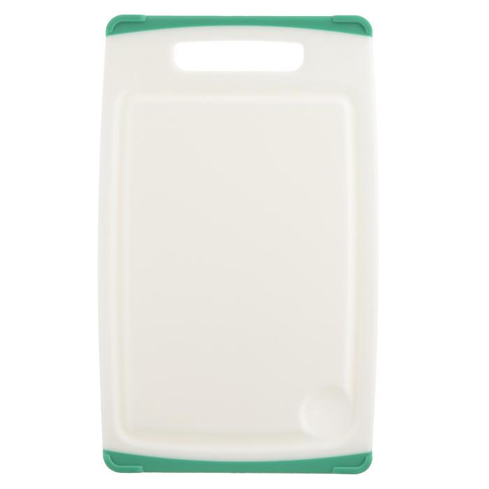 Доска разделочная Tescoma Cosmo, цвет: зеленый, 26 х 16 см379210Разделочная доска Tescoma Cosmo, изготовленная из высококачественного прочного пластика, станет незаменимым атрибутом приготовления пищи. Она идеально подходит для разделки мяса, рыбы, приготовления теста и нарезки любых продуктов. А особый дизайн краев с желобком способствует задерживанию жидкостей и остатков продуктов. Изделие оснащено прорезиненными цветными вставками с двух сторон для предотвращения скольжения по столу. Доска предназначена для ежедневного интенсивного использования. Не затупляет лезвия. Современный стильный дизайн и функциональность разделочной доски Tescoma Cosmo, позволит занять ей достойное место на вашей кухне. Можно мыть в посудомоечной машине.