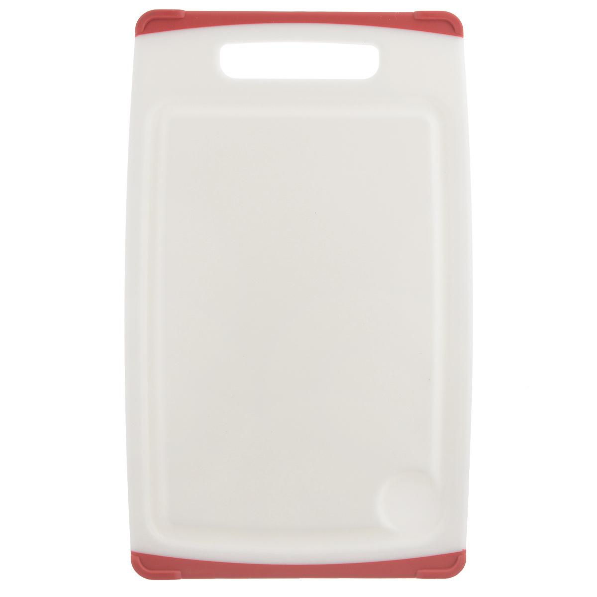 Доска разделочная Tescoma Cosmo, цвет: красный, 30 х 20 см379212Разделочная доска Tescoma Cosmo, изготовленная из высококачественного прочного пластика, станет незаменимым атрибутом приготовления пищи. Она идеально подходит для разделки мяса, рыбы, приготовления теста и нарезки любых продуктов. А особый дизайн краев с желобком способствует задерживанию жидкостей и остатков продуктов. Изделие оснащено прорезиненными цветными вставками с двух сторон для предотвращения скольжения по столу. Доска предназначена для ежедневного интенсивного использования. Не затупляет лезвия. Современный стильный дизайн и функциональность разделочной доски Tescoma Cosmo, позволит занять ей достойное место на вашей кухне. Можно мыть в посудомоечной машине.