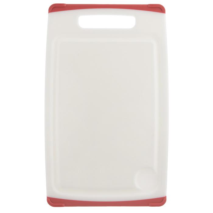 Доска разделочная Tescoma Cosmo, цвет: красный, 26 см х 16 см379210Разделочная доска Tescoma Cosmo, изготовленная из высококачественного прочного пластика, станет незаменимым атрибутом приготовления пищи. Она идеально подходит для разделки мяса, рыбы, приготовления теста и нарезки любых продуктов. А особый дизайн краев с желобком способствует задерживанию жидкостей и остатков продуктов. Изделие оснащено прорезиненными цветными вставками с двух сторон для предотвращения скольжения по столу. Доска предназначена для ежедневного интенсивного использования. Не затупляет лезвия. Современный стильный дизайн и функциональность разделочной доски Tescoma Cosmo, позволит занять ей достойное место на вашей кухне. Можно мыть в посудомоечной машине.