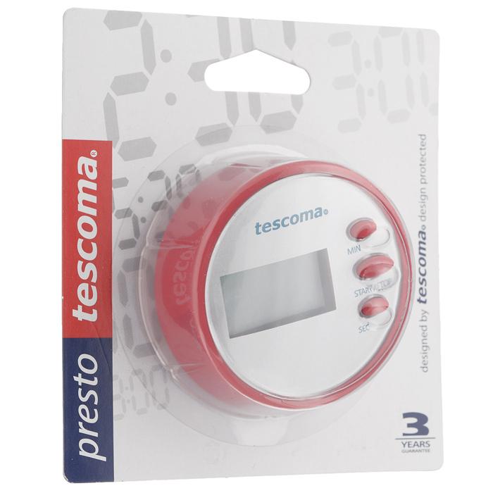 Таймер цифровой Tescoma Presto, цвет: розовый636076Цифровой таймер Tescoma Presto, оснащенный прочным корпусом из высококачественного пластика, станет вашим надежным помощником на кухне. Оригинальный дизайн таймера украсит интерьер любой современной кухни. Таймер напомнит вам про молоко, пельмени или пирог. Он громко зазвенит, когда блюдо будет готово, поэтому вы можете себе позволить отвлечься на любимый фильм, не опасаясь, что у вас что-то подгорит или переварится. Таймер снабжен цифровым дисплеем, что делает его простым в обращении. Таймер Tescoma Presto оснащен магнитом, его без труда можно прикрепить в удобное для вас место на кухне. Максимальное время, на которое вы можете поставить таймер, составляет 99 минут 59 секунд. Диаметр таймера: 6,5 см. Работает от одной батарейки ААА, которая входит в комплект.