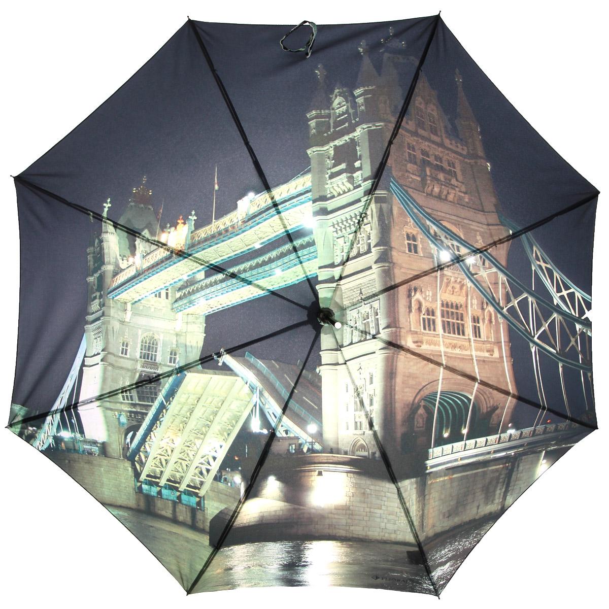 Зонт-трость Flioraj Тауэр Бридж, полуавтомат, черный, зеленый012-8 FJЭлегантный полуавтоматический зонт-трость Flioraj Тауэр Бридж даже в ненастную погоду позволит вам подчеркнуть свою индивидуальность. Каркас зонта из анодированной стали состоит из восьми карбоновых спиц, а рукоятка закругленной формы разработана с учетом требований эргономики и покрыта искусственной кожей. Зонт снабжен системой Антиветер. Зонт имеет полуавтоматический механизм сложения: купол открывается нажатием кнопки на рукоятке, а закрывается вручную до характерного щелчка. Купол зонта выполнен из прочного полиэстера с тефлоновой пропиткой и оформлен оригинальным изображением знаменитого Тауэрского моста. Закрытый купол фиксируется хлястиком на кнопку. Такой зонт не только надежно защитит вас от дождя, но и станет стильным аксессуаром.