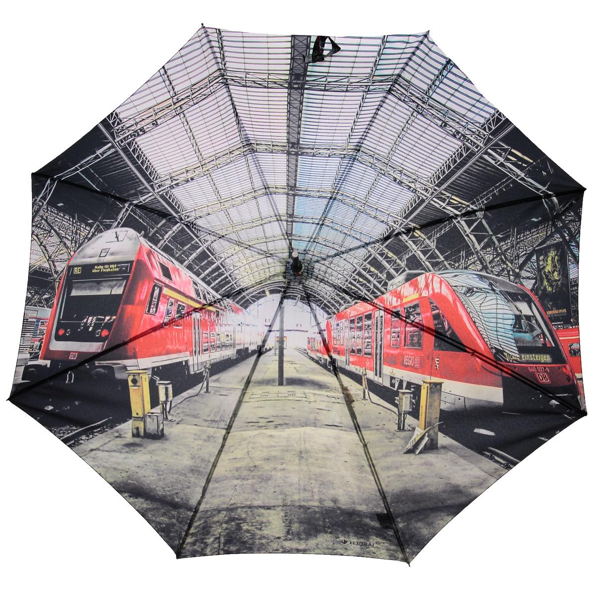Зонт-трость Flioraj Вокзал, полуавтомат, серый, красный012-6 FJЭлегантный полуавтоматический зонт-трость Flioraj Вокзал даже в ненастную погоду позволит вам подчеркнуть свою индивидуальность. Каркас зонта из анодированной стали состоит из восьми карбоновых спиц, а рукоятка закругленной формы разработана с учетом требований эргономики и покрыта искусственной кожей. Зонт снабжен системой Антиветер. Зонт имеет полуавтоматический механизм сложения: купол открывается нажатием кнопки на рукоятке, а закрывается вручную до характерного щелчка. Купол зонта выполнен из прочного полиэстера с тефлоновой пропиткой и оформлен оригинальным изображением городского вокзала. Закрытый купол фиксируется хлястиком на кнопке. Такой зонт не только надежно защитит вас от дождя, но и станет стильным аксессуаром.