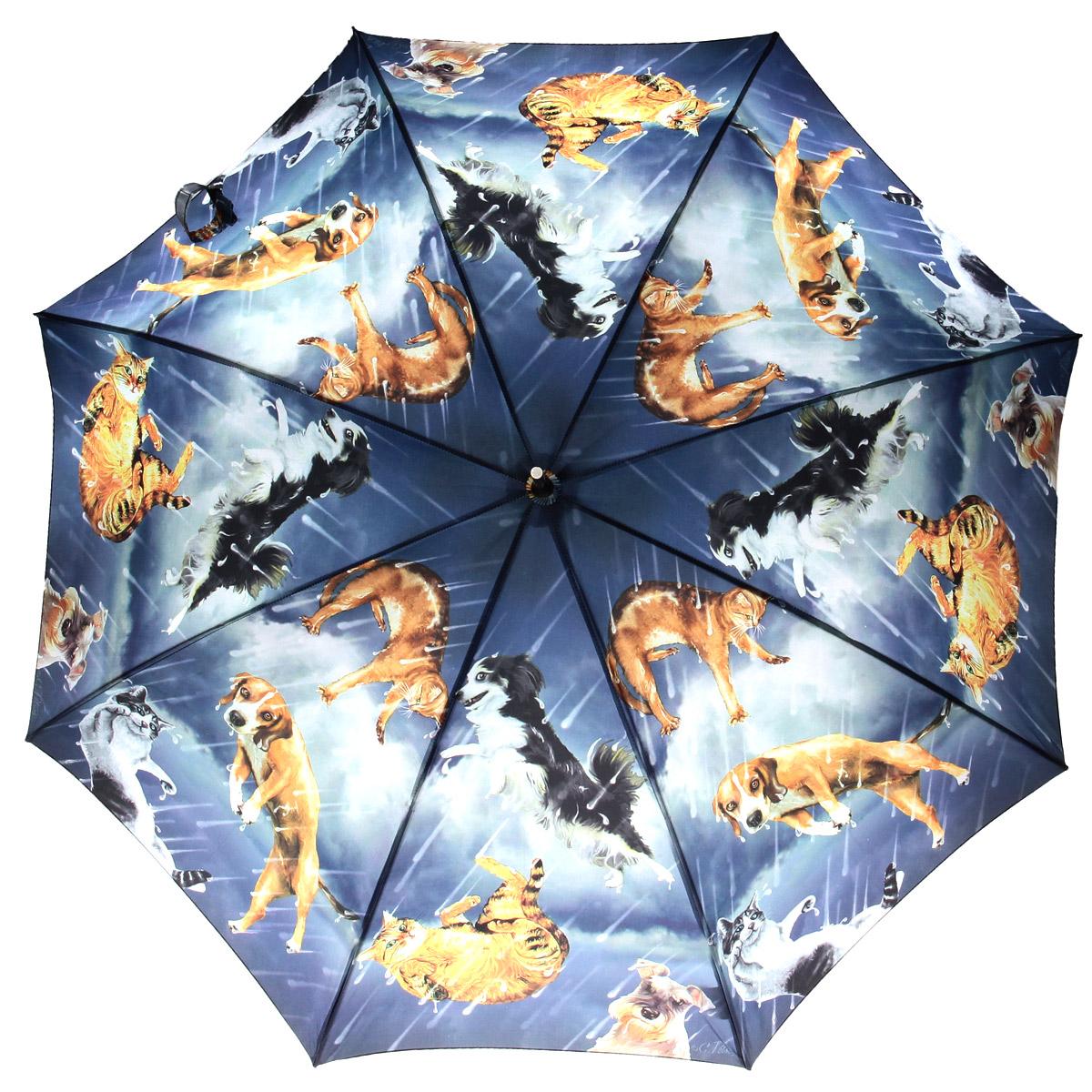 Зонт-трость Flioraj Коты и собачки, полуавтомат, синий, оранжевый001-12 FJЭлегантный полуавтоматический зонт-трость Flioraj Коты и собачки даже в ненастную погоду позволит вам подчеркнуть свою индивидуальность. Каркас зонта из анодированной стали состоит из восьми карбоновых спиц, а рукоятка закругленной формы разработана с учетом требований эргономики и покрыта искусственной кожей. Зонт снабжен системой Антиветер. Зонт имеет полуавтоматический механизм сложения: купол открывается нажатием кнопки на рукоятке, а закрывается вручную до характерного щелчка. Купол зонта выполнен из прочного полиэстера с тефлоновой пропиткой и оформлен оригинальным изображением кошек и собак. Закрытый купол фиксируется хлястиком на липучке. Такой зонт не только надежно защитит вас от дождя, но и станет стильным аксессуаром.