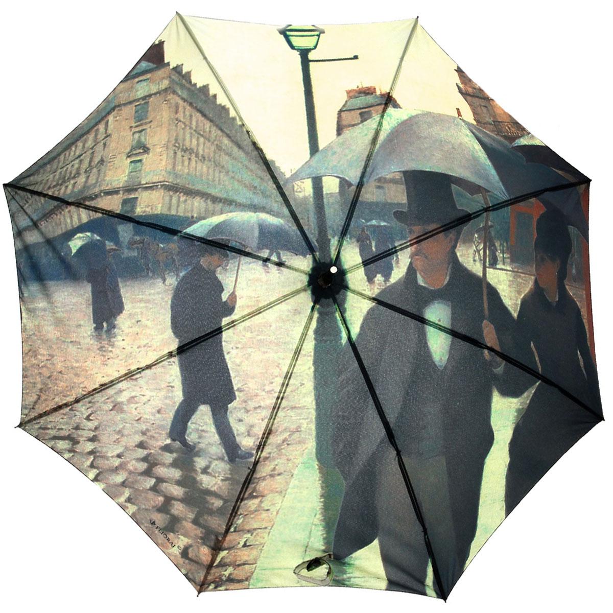 Зонт-трость Flioraj Парижская улица012-12 FJЭлегантный полуавтоматический зонт-трость Flioraj Парижская улица. Дождь даже в ненастную погоду позволит вам подчеркнуть свою индивидуальность. Каркас зонта из анодированной стали состоит из восьми карбоновых спиц, а рукоятка закругленной формы разработана с учетом требований эргономики и покрыта искусственной кожей. Зонт снабжен системой Антиветер. Зонт имеет полуавтоматический механизм сложения: купол открывается нажатием кнопки на рукоятке, а закрывается вручную до характерного щелчка. Купол зонта выполнен из прочного полиэстера с тефлоновой пропиткой и оформлен оригинальным изображением по мотивам картины французского художника Гюстава Кайботта Парижская улица в дождливую погоду или Парижская улица. Дождь. Закрытый купол фиксируется хлястиком на кнопке. Такой зонт не только надежно защитит вас от дождя, но и станет стильным аксессуаром.