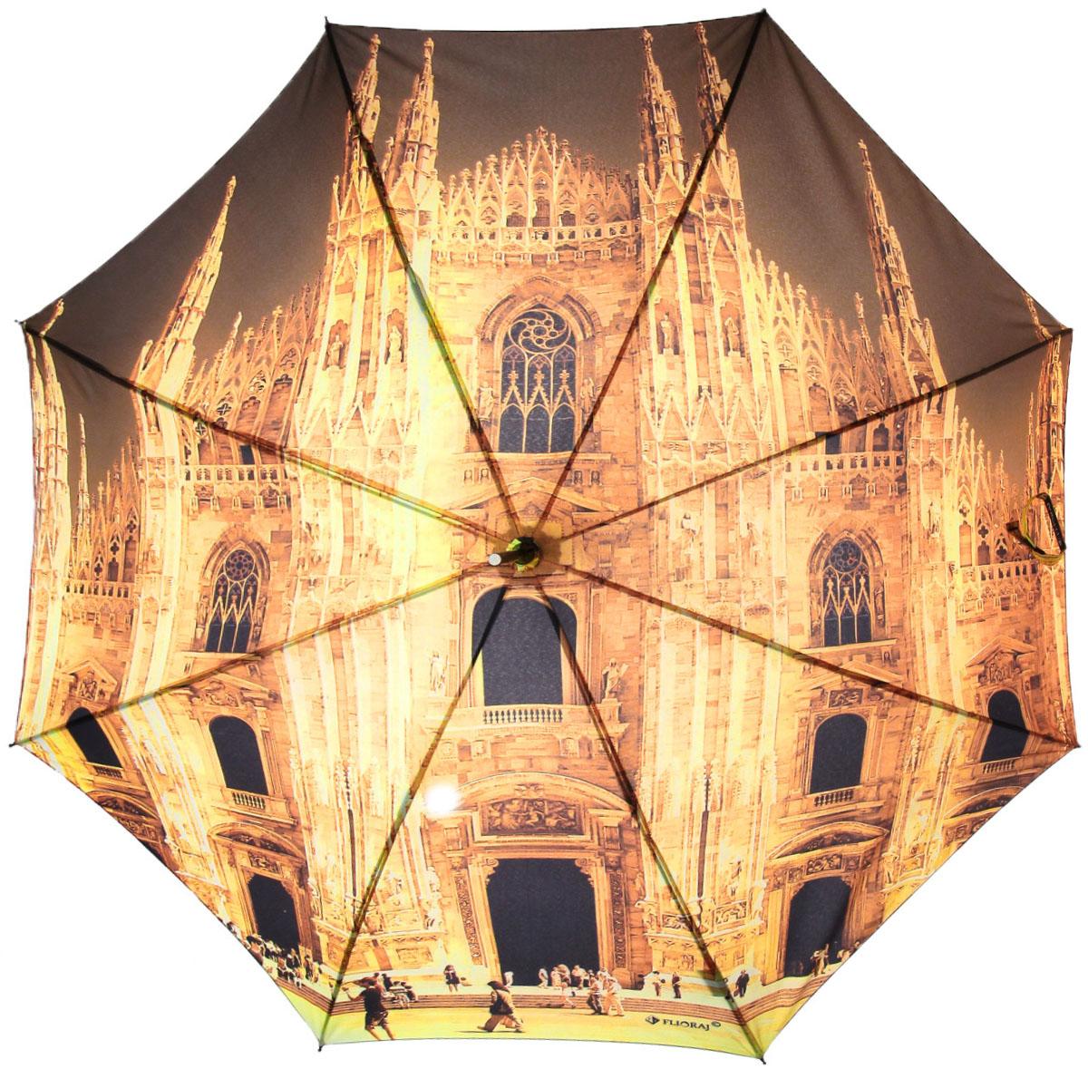 Зонт-трость Flioraj Миланский собор, полуавтомат, оранжевый012-9 FJЭлегантный полуавтоматический зонт-трость Flioraj Миланский собор даже в ненастную погоду позволит вам подчеркнуть свою индивидуальность. Каркас зонта из анодированной стали состоит из восьми карбоновых спиц, а рукоятка закругленной формы разработана с учетом требований эргономики и покрыта искусственной кожей. Зонт снабжен системой Антиветер. Зонт имеет полуавтоматический механизм сложения: купол открывается нажатием кнопки на рукоятке, а закрывается вручную до характерного щелчка. Купол зонта выполнен из прочного полиэстера с тефлоновой пропиткой и оформлен оригинальным изображением знаменитого Миланского собора. Закрытый купол фиксируется хлястиком на кнопке. Такой зонт не только надежно защитит вас от дождя, но и станет стильным аксессуаром.