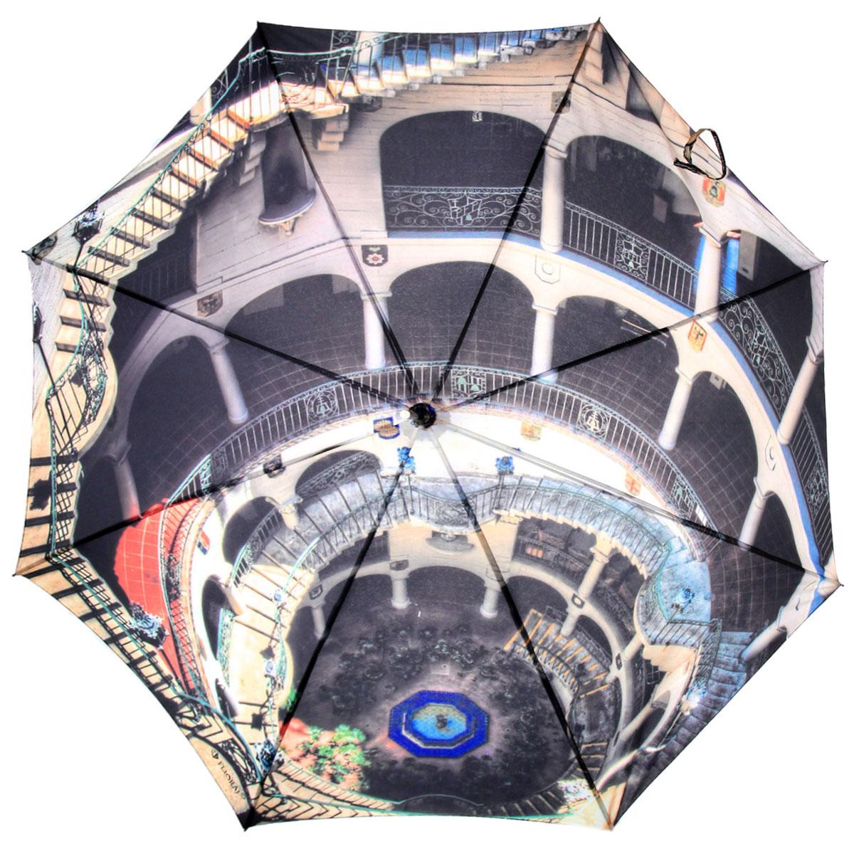 Зонт-трость Flioraj Арки, полуавтомат, бежевый, черный012-11 FJЭлегантный полуавтоматический зонт-трость Flioraj Арки даже в ненастную погоду позволит вам подчеркнуть свою индивидуальность. Каркас зонта из анодированной стали состоит из восьми карбоновых спиц, а рукоятка закругленной формы разработана с учетом требований эргономики и покрыта искусственной кожей. Зонт снабжен системой Антиветер. Зонт имеет полуавтоматический механизм сложения: купол открывается нажатием кнопки на рукоятке, а закрывается вручную до характерного щелчка. Купол зонта выполнен из прочного полиэстера с тефлоновой пропиткой и оформлен оригинальным изображением сложной архитектурной композиции. Закрытый купол фиксируется хлястиком на кнопке. Такой зонт не только надежно защитит вас от дождя, но и станет стильным аксессуаром.