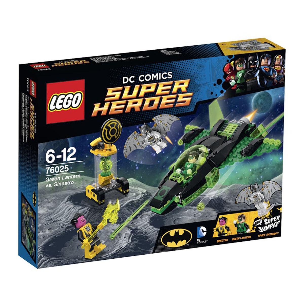 LEGO Super Heroes Конструктор Зеленый Фонарь против Синестро 7602576025Синестро украл фонарь Зеленого Фонаря и увез его на свою родную планету Коругар. Организуй спасательную миссию вместе с Зеленым Фонарем в его ультрасовременном космическом корабле и Космическим Бэтменом на супер-джампере. Но злобный Синестро построил клетку вокруг фонаря и охраняет его. Стреляй из 2 мощных шипованных шутеров и поверни задний рычаг, чтобы активировать 2 разрушительных пружинных шутера. Вступай в бой вместе с Космическим Бэтменом на супер-джампере, чтобы повергнуть Синестро и взорвать клетку. Одержав победу, выпрыгни из кабины и верни фонарь! Этот красочный игровой набор содержит 174 пластиковых элемента для сборки, 3 фигурки и инструкцию по сборке. Конструктор - это один из самых увлекательнейших и веселых способов времяпрепровождения. Ребенок сможет часами играть с конструктором, придумывая различные ситуации и истории. В процессе игры с конструкторами LEGO дети приобретают и постигают такие необходимые навыки как познание, творчество, воображение....