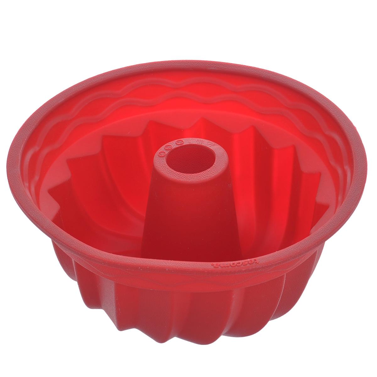 Форма для выпечки кекса Tescoma Delicia Silicone, круглая, цвет: красный, диаметр 24 см629224Круглая форма Tescoma Delicia Silicone будет отличным выбором для всех любителей выпечки. Благодаря тому, что форма изготовлена из силикона, готовую выпечку вынимать легко и просто. Стенки формы оснащены рельефной поверхностью. Форма прекрасно подходит для выпечки кексов. С такой формой вы всегда сможете порадовать своих близких оригинальной выпечкой. Материал изделия устойчив к фруктовым кислотам, может быть использован в духовках, микроволновых печах, холодильниках и морозильных камерах (выдерживает температуру от -40°C до 230°C). Антипригарные свойства материала позволяют готовить без использования масла. Можно мыть и сушить в посудомоечной машине. При работе с формой используйте кухонный инструмент из силикона - кисти, лопатки, скребки. Не ставьте форму на электрическую конфорку. Не разрезайте выпечку прямо в форме.