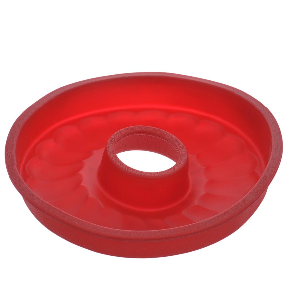 Форма для выпечки кекса Tescoma Delicia Silicone, круглая, цвет: красный, диаметр 26 см. 629228629228Круглая форма Tescoma Delicia Silicone будет отличным выбором для всех любителей выпечки. Благодаря тому, что форма изготовлена из силикона, готовую выпечку вынимать легко и просто. Дно формы оснащено рельефной поверхностью. Форма прекрасно подходит для выпечки кексов. С такой формой вы всегда сможете порадовать своих близких оригинальной выпечкой. Материал изделия устойчив к фруктовым кислотам, может быть использован в духовках, микроволновых печах, холодильниках и морозильных камерах (выдерживает температуру от -40°C до 230°C). Антипригарные свойства материала позволяют готовить без использования масла. Можно мыть и сушить в посудомоечной машине. При работе с формой используйте кухонный инструмент из силикона - кисти, лопатки, скребки. Не ставьте форму на электрическую конфорку. Не разрезайте выпечку прямо в форме.