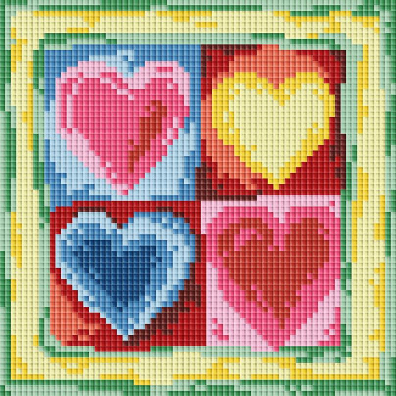 Набор для творчества Мозаика. Четыре сердечка, 18 х 18 см011-STНабор для создания мозаичной картины - это новый вид творчества, который поможет создать оригинальный элемент для украшения интерьера. В наборе имеется канва с нанесенной схемой, покрытая клеевым слоем. С помощью пинцета камушки размещаются на канву. Камушки выполнены из современного композитного материала, устойчивого к воздействию солнечных лучей. Камушек за камушком и канва будет закрываться блестящим и переливающимся рисунком. Попробуйте новую технику рукоделия - вышивка без иглы. Просто выложите мозаику по схеме на клеевую основу и получите шедевр! Вы получите наслаждение от творчества и удивительно красивую картину для вашего интерьера! После завершения работы необходимо выровнять мозаичные ряды металлической линейкой, проведя ребром линейки между рядами мозаики. Поверх мозаичного панно рекомендуем нанести слой акрилового глянцевого лака. Лак дополнительно закрепит мозаичные элементы и создаст защитную пленку вашей работе. ...