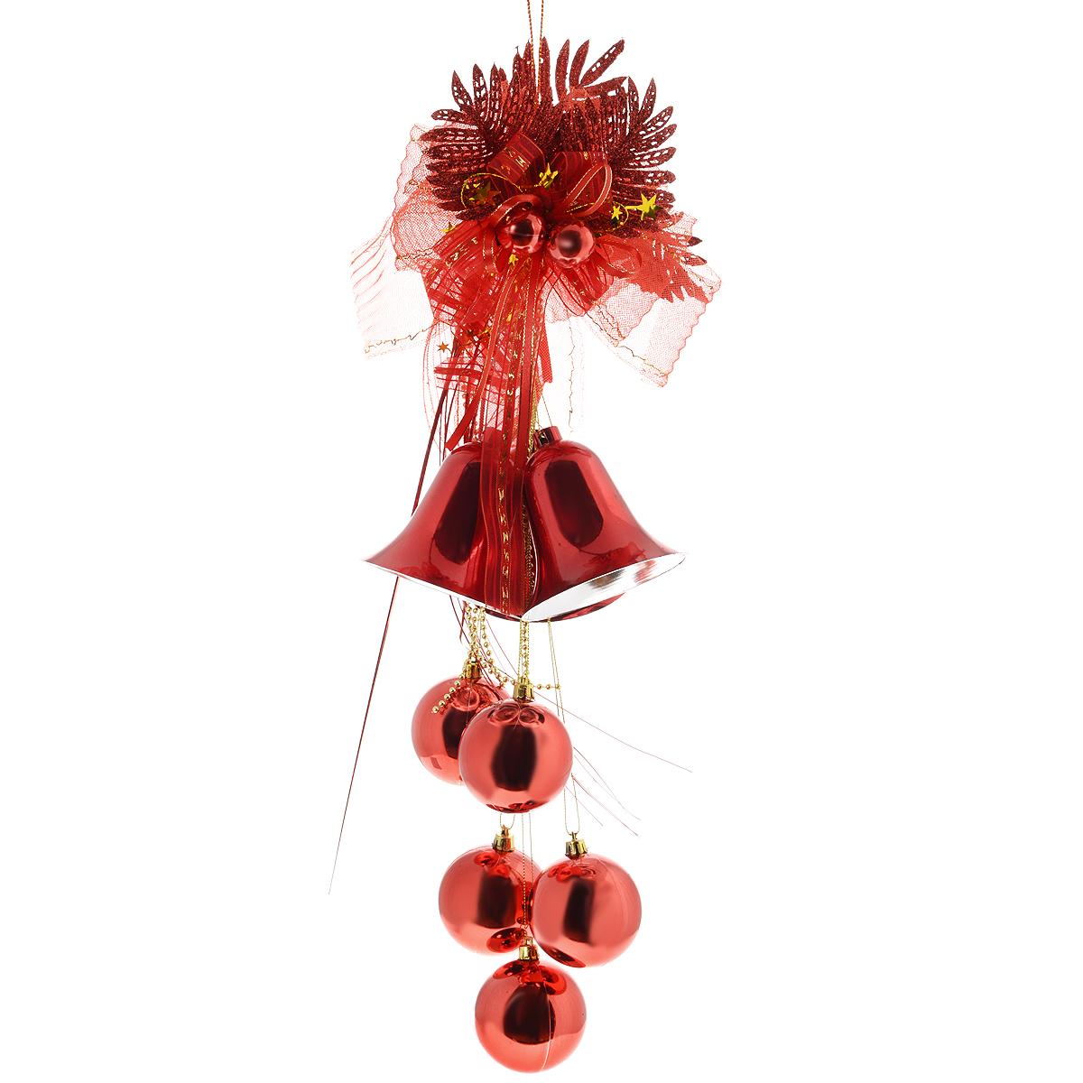 Новогоднее подвесное украшение Sima-land Колокольчики и шары, цвет: красный, длина 68 см. 815820815820красныйНовогоднее украшение Sima-land Колокольчики и шары отлично подойдет для декорации вашего дома и новогодней ели. Украшение выполнено в виде декоративной подвесной композиции из текстильного банта, пластиковых веток, бус, колокольчиков и шаров. Украшение оснащено текстильной петелькой для подвешивания. Елочная игрушка - символ Нового года. Она несет в себе волшебство и красоту праздника. Создайте в своем доме атмосферу веселья и радости, украшая всей семьей новогоднюю елку нарядными игрушками, которые будут из года в год накапливать теплоту воспоминаний.