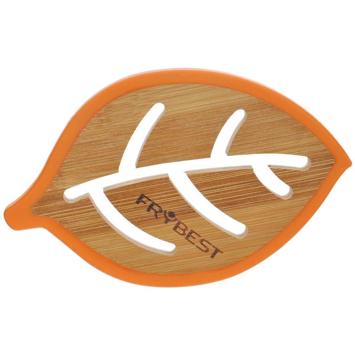 Подставка под горячее Frybest Листок, бамбуковая, цвет: оранжевый, 14 см х 9 смCO08715B4O1Подставка под горячее Frybest Листок выполнена из высококачественной древесины бамбука в виде листочка с декоративной перфорацией. Подставка способна выдержать высокие температуры, а благодаря силиконовой цветной окантовке не скользит по поверхности стола. Каждая хозяйка знает, что подставка под горячее - это незаменимый и очень полезный аксессуар на каждой кухне. Ваш стол будет не только украшен яркой и оригинальной подставкой, но и сбережен от воздействия высоких температур.