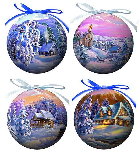 Набор елочных украшений Зимние пейзажи, диаметр 9 см, 4 шт. 2014420144Набор Зимние пейзажи состоит из 4 подвесных украшений в форме шара. Украшения, выполненные из пластмассы, оформлены красочными изображениями зимней природы. Благодаря плотному корпусу изделия никогда не разобьются, поэтому вы можете быть уверены, что они прослужат вам долгие годы. Украшения можно повесить на новогоднюю елку с помощью атласных ленточек фиолетового и голубого цвета. Елочная игрушка - символ Нового года. Она несет в себе волшебство и красоту праздника. Создайте в своем доме атмосферу веселья и радости, украшая новогоднюю елку нарядными игрушками, которые будут из года в год накапливать теплоту воспоминаний. Характеристики: Материал: пластмасса (вспененный полистирол), текстиль. Комплектация: 4 шт. Диаметр шара: 9 см. Размер упаковки: 8,5 см х 8,5 см х 35 см. Производитель: Россия. Изготовитель: Китай. Артикул: 20144. УВАЖАЕМЫЕ КЛИЕНТЫ! Обращаем ваше внимание на то, что данный набор...