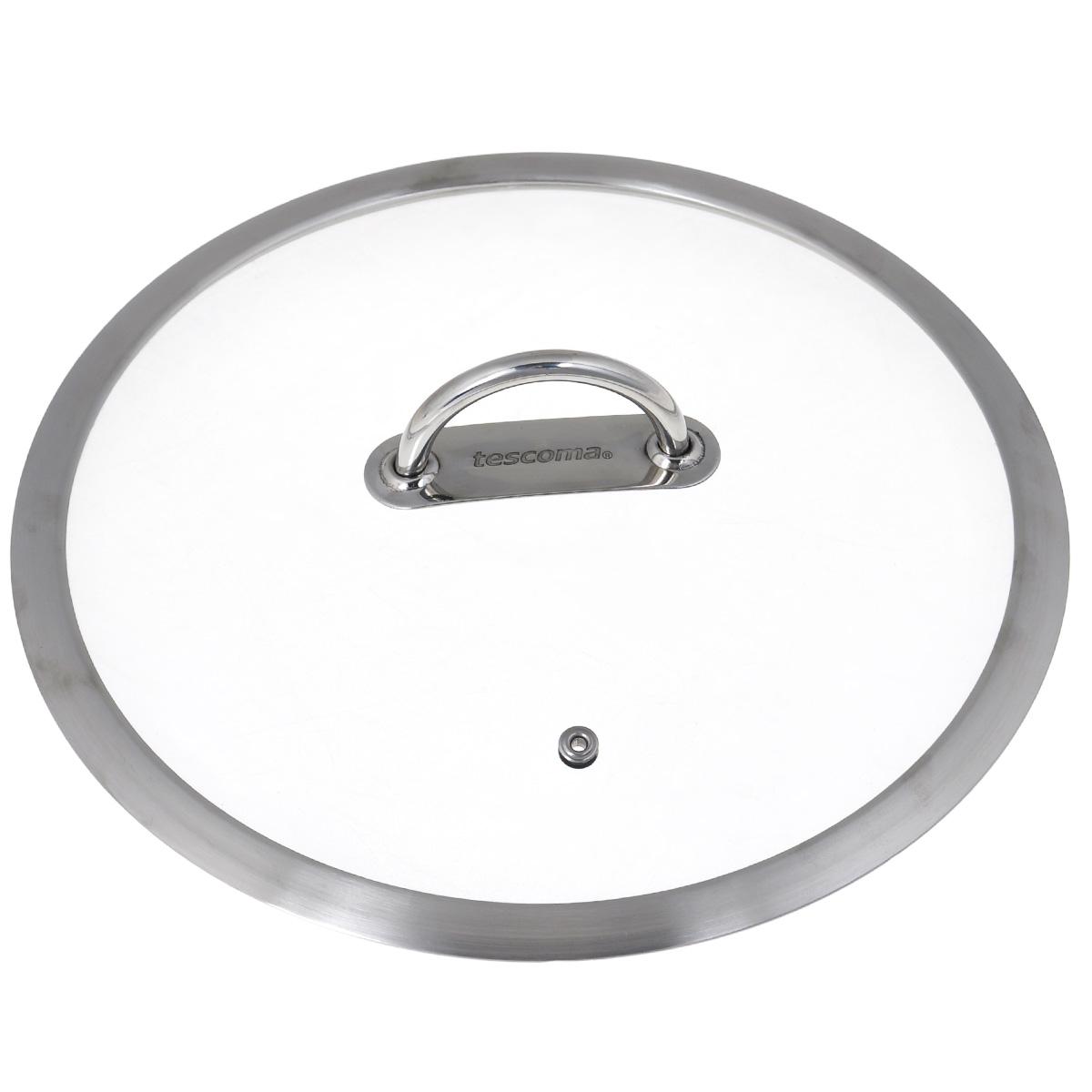 Крышка стеклянная Tescoma Vision. Диаметр 24 см779824Крышка Tescoma Vision изготовлена из термостойкого стекла. Обод, выполненный из высококачественной нержавеющей стали, защищает крышку от повреждений. Удобная, ненагревающаяся ручка также выполнена из нержавеющей стали. Изделие оснащено пароотводом. Крышка удобна в использовании и позволяет контролировать процесс приготовления пищи. Можно мыть в посудомоечной машине.