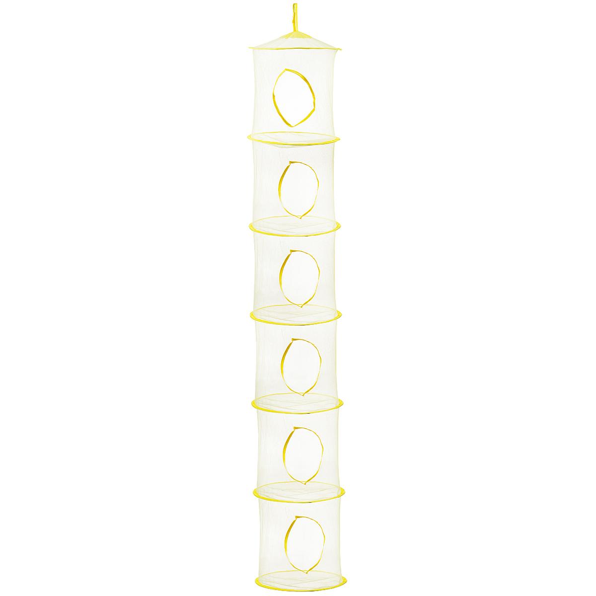 Полка подвесная круглая Eva, 6 секций, цвет: желтый, 30 см х 180 смЕ-652