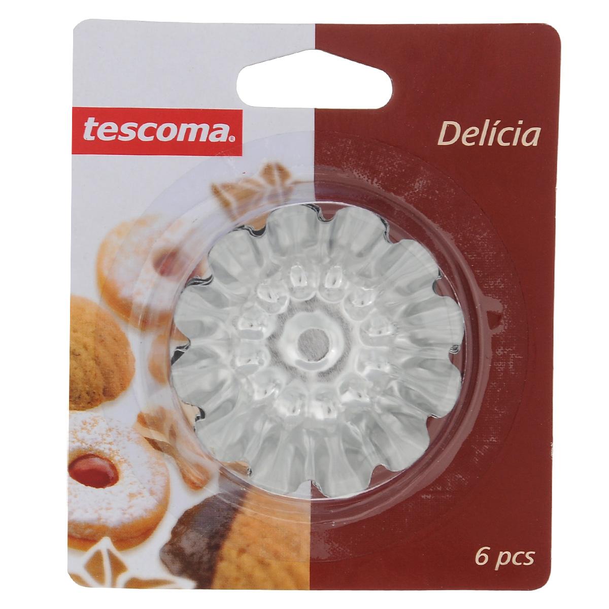 Набор форм для выпечки Tescoma Delicia, с антипригарным покрытием, диаметр 7 см, 6 шт631530Набор Tescoma Delicia состоит из 6 круглых форм с волнистыми рельефными краями для выпечки кексов. Изделия выполнены из нержавеющей стали с антипригарным покрытием, которое предотвращает прилипание пищи. Это позволит легко извлечь выпечку из формы, просто перевернув ее. Формы замечательно подходят для приготовления кексов, сладкого, соленого печенья и других десертов. После использования вымойте и вытрите формы. Нельзя использовать в посудомоечной машине. Диаметр по верхнему краю: 7 см.