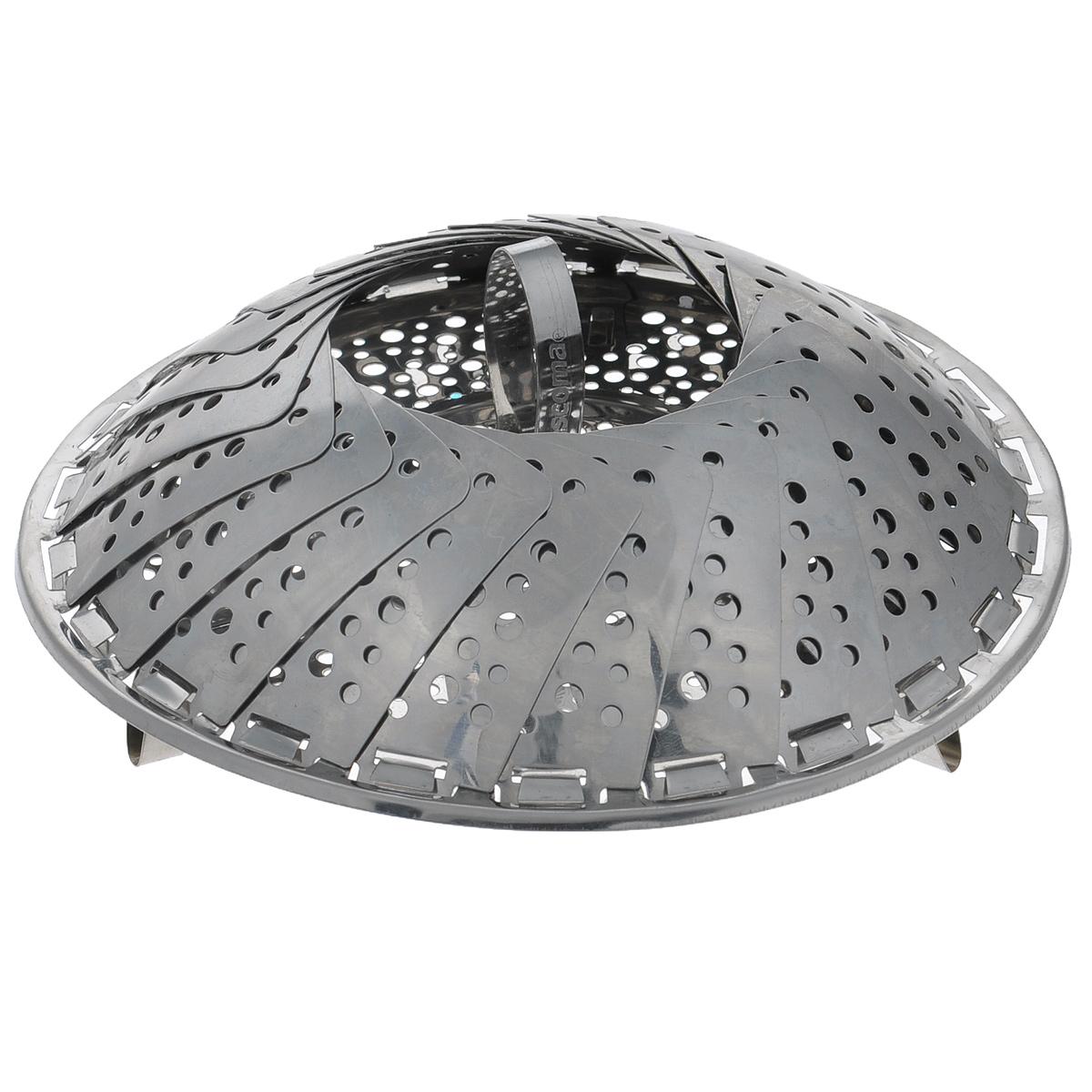 Пароварка Tescoma Presto, 18-28 см644808Пароварка Tescoma Presto предназначена для приготовления пищи на пару. Изделие выполнено из высококачественной нержавеющей стали. Пароварка устанавливается сверху на посуду. Подходит для посуды с различным диаметром. Складная, в сложенном виде занимает минимум пространства. Можно мыть в посудомоечной машине.