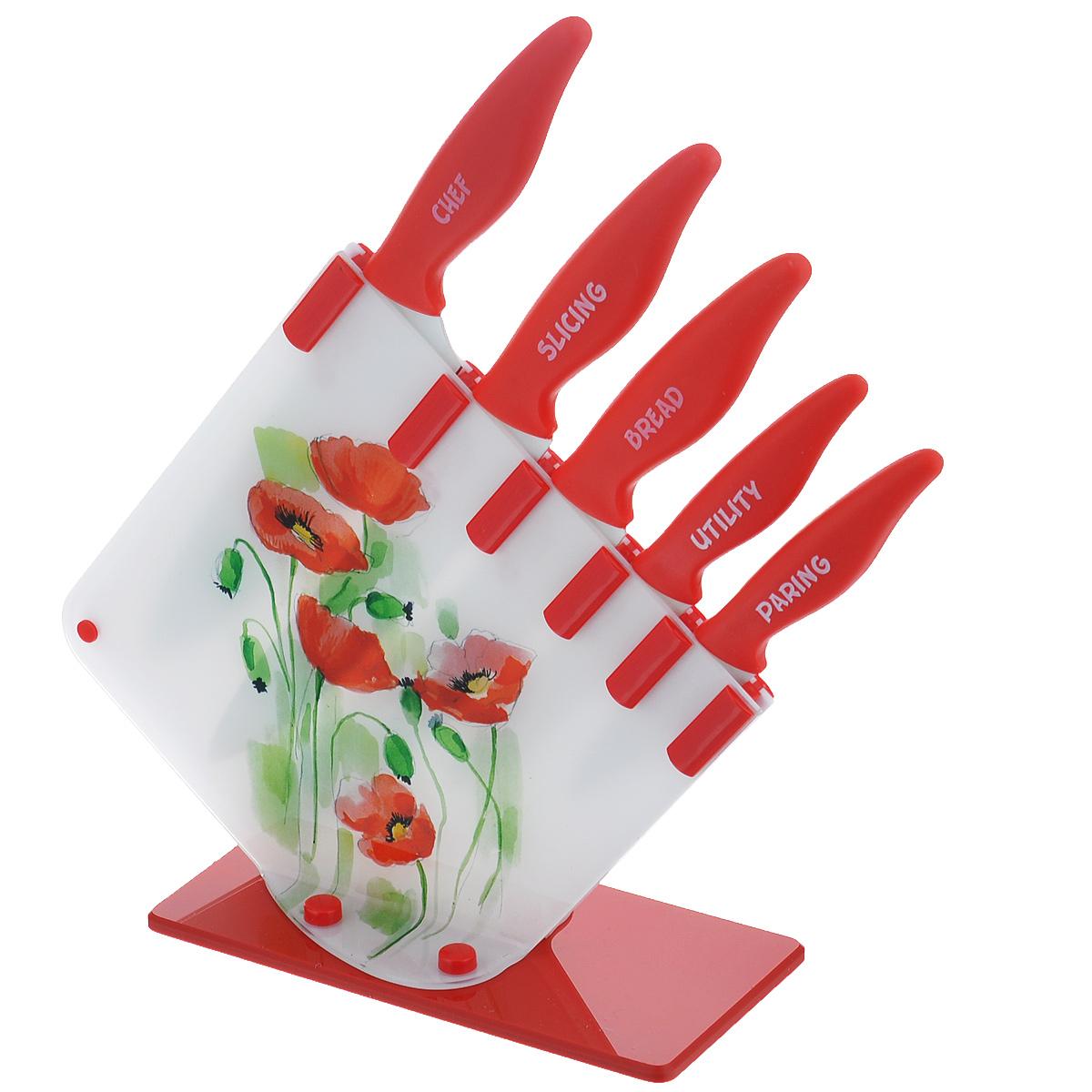 Набор ножей Apollo Magnolia, 6 предметов, цвет: белый, красныйMGN-05Ножи Apollo Magnolia со специальным антибактериальным покрытием. Лезвия изготовлены из высококачественной нержавеющей стали, обеспечивающей долгое сохранение заточки. Ручки ножей выполнены из пищевого пластика. Специальное нестираемое антибактериальное покрытие препятствует контакту продукта и стали, существенно уменьшая процесс окисления и помогая сохранить полезные свойства продукта. Кроме того, специальное покрытие значительно увеличивает гигиенические свойства ножей, сокращая наличие на лезвии микробов и препятствуя их размножению. Подставка оригинальной формы, выполненная из пластика, украшена изображением цветов. В набор входят: нож кухонный, нож для хлеба, нож для мяса, нож универсальный, нож для овощей, подставка. Заточка ножей производится так же, как и обычных кухонных ножей. Не рекомендуется мыть в посудомоечной машине. Общая длина ножа для мяса: 32,5 см. Длина лезвия ножа для мяса: 20 см. Общая длина ножа для хлеба: 32,5...