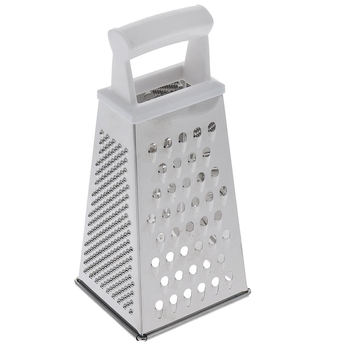 Терка четырехгранная Tescoma Handy, цвет: белый, высота 22 см643780Четырехгранная терка Tescoma Handy, выполненная из высококачественной нержавеющей стали с зеркальной полировкой, станет незаменимым атрибутом приготовления пищи. Сверху на терке находится удобная пластиковая ручка. На одном изделие представлены четыре вида терок - крупная, мелкая, фигурная и нарезка ломтиками. Современный стильный дизайн позволит терке занять достойное место на вашей кухне. Можно мыть в посудомоечной машине.