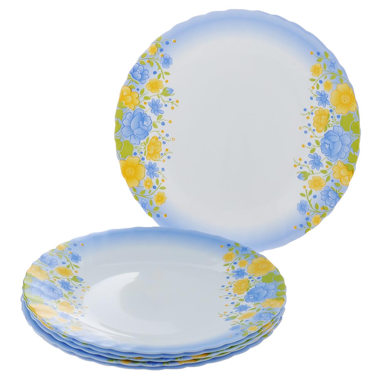 Набор мелких тарелок Bormioli Rocco Prima Spring, цвет: белый, голубой, диаметр 25,5 см, 6 шт403884FN9321655Набор Bormioli Rocco Prima Spring, выполненный из высококачественного упрочненного стекла, состоит из 6 мелких тарелок. Тарелки оформлены изображением цветов. Они сочетают в себе изысканный дизайн с максимальной функциональностью. Оригинальность оформления тарелок придется по вкусу и ценителям классики, и тем, кто предпочитает утонченность и изящность. Набор тарелок послужит отличным подарком к любому празднику.