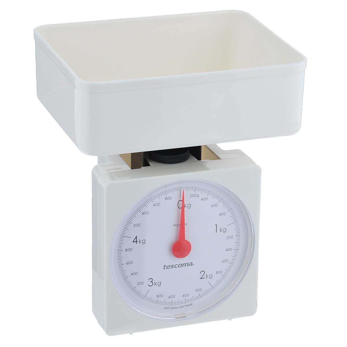 Весы кухонные механические Tescoma Accura, цвет: белый, до 5 кг634524Механические кухонные весы Tescoma Accura, выполненные из высокопрочного пластика и стали, с большой, хорошо читаемой шкалой и съемной чашей, придутся по душе каждой хозяйке и станут незаменимым аксессуаром на кухне. На шкале присутствуют единицы измерения в граммах и килограммах. В комплекте - пластиковая чаша. Вам больше не придется использовать продукты на глаз. Весы Tescoma Accura позволят вам с высокой точностью дозировать продукты, следуя вашим любимым рецептам. Размер весов (без чаши): 13 см х 8 см х 17 см. Размер чаши: 18,5 см х 15 см х 7 см.