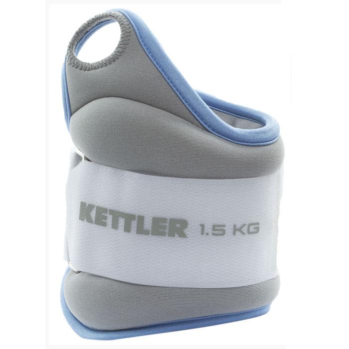 Утяжелитель для рук Kettler, цвет: голубой, серый, 2 х 1,5 кг07361-420Нейлоновые утяжелители Kettler используются для физических упражнений. Благодаря отверстию для большого пальца утяжелители не соскальзывают и удобны в использовании.