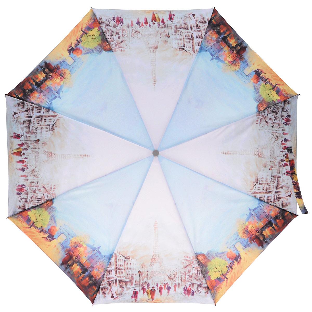 Зонт женский Zest, автомат, 3 сложения, цвет: голубой, розовый. 23745-801823745-8018Модный автоматический зонт Zest в 3 сложения изготовлен из высокопрочных материалов. Каркас зонта состоит из 8 спиц из фибергласса и прочного алюминиевого стержня. Специальная система Windproof защищает его от поломок во время сильных порывов ветра. Купол зонта выполнен из прочного полиэстера с водоотталкивающей пропиткой и оформлен изображением достопримечательностей Парижа. Используемые высококачественные красители обеспечивают длительное сохранение свойств ткани купола. Рукоятка, разработанная с учетом требований эргономики, выполнена из пластика. Зонт имеет полный автоматический механизм сложения: купол открывается и закрывается нажатием кнопки на рукоятке, стержень складывается вручную до характерного щелчка. Благодаря этому открыть и закрыть зонт можно одной рукой, что чрезвычайно удобно при входе в транспорт или помещение. Небольшой шнурок, расположенный на рукоятке, позволяет надеть изделие на руку при необходимости. К зонту прилагается чехол. Такой зонт не...