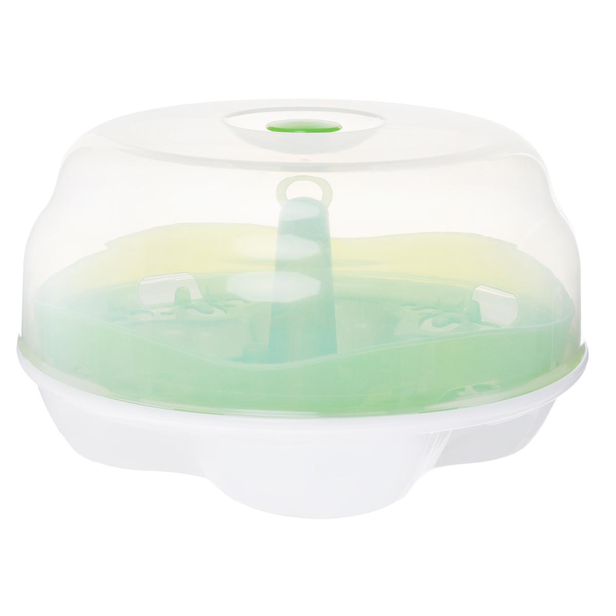 Стерилизатор для микроволновой печи Born Free, цвет: белый, салатовый47276Стерилизатор для микроволновой печи Born Free удобно вместит в себя все виды емкостей, что позволит вам избежать неудобств по поводу нестандартных размеров посуды для кормления. И главное - он вмещает в себя сразу четыре бутылочки объемом 250 мл, затрачивая на их стерилизацию всего четыре минуты. Подходит для стерилизации всех видов бутылочек и других аксессуаров BornFree. Оснащен специальными ручками для безопасной выемки из микроволновой печи. Включает специальный держатель для сушки бутылочек и их частей. Ручка крышки обеспечивает удобство и безопасность при открытии стерилизатора. Изготовлен из безопасных материалов, не содержащих бисфенол-А, фталаты и ПВХ. В комплекте инструкция по эксплуатации на русском языке. Бутылочки и аксессуары не входят в комплект.