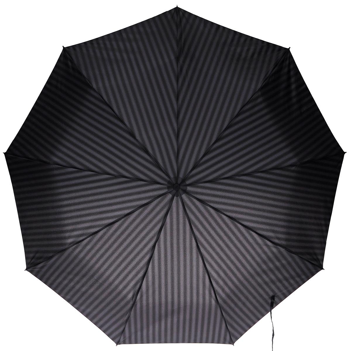 Зонт мужской Zest, автомат, 3 сложения, цвет: серый, черный. 13943-113943-1Элегантный автоматический зонт Zest в 3 сложения изготовлен из высокопрочных материалов. Каркас зонта состоит из 9 спиц из фибергласса и прочного алюминиевого стержня. Специальная система Windproof защищает его от поломок во время сильных порывов ветра. Купол зонта выполнен из прочного полиэстера с водоотталкивающей пропиткой и оформлен принтом в полоску. Используемые высококачественные красители обеспечивают длительное сохранение свойств ткани купола. Рукоятка закругленной формы, разработанная с учетом требований эргономики, выполнена из пластика. Зонт имеет полный автоматический механизм сложения: купол открывается и закрывается нажатием кнопки на рукоятке, стержень складывается вручную до характерного щелчка. Благодаря этому открыть и закрыть зонт можно одной рукой, что чрезвычайно удобно при входе в транспорт или помещение. К зонту прилагается чехол. Такой зонт не только надежно защитит вас от дождя, но и станет стильным аксессуаром, который подчеркнет ваш...