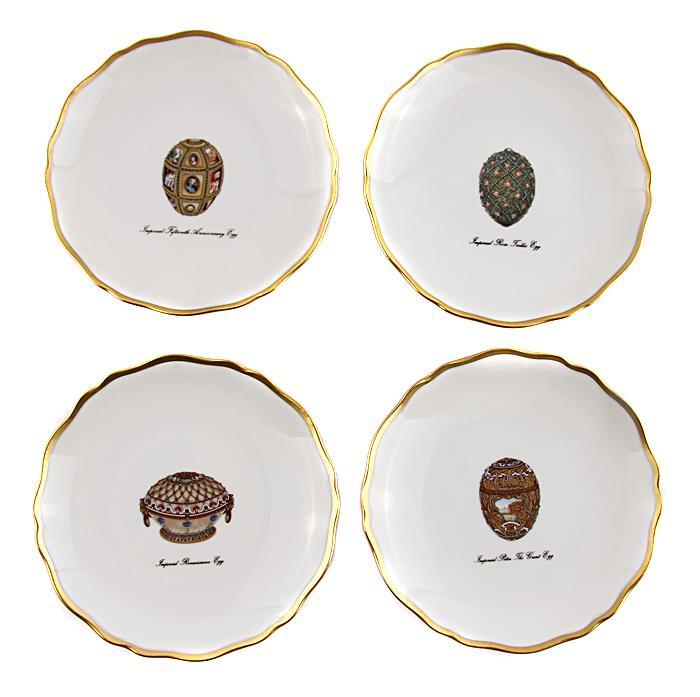 Комплект блюдец для канапе с изображением самых известных яиц Фаберже. Фарфор, деколь, роспись. Faberge, Франция, конец XX века