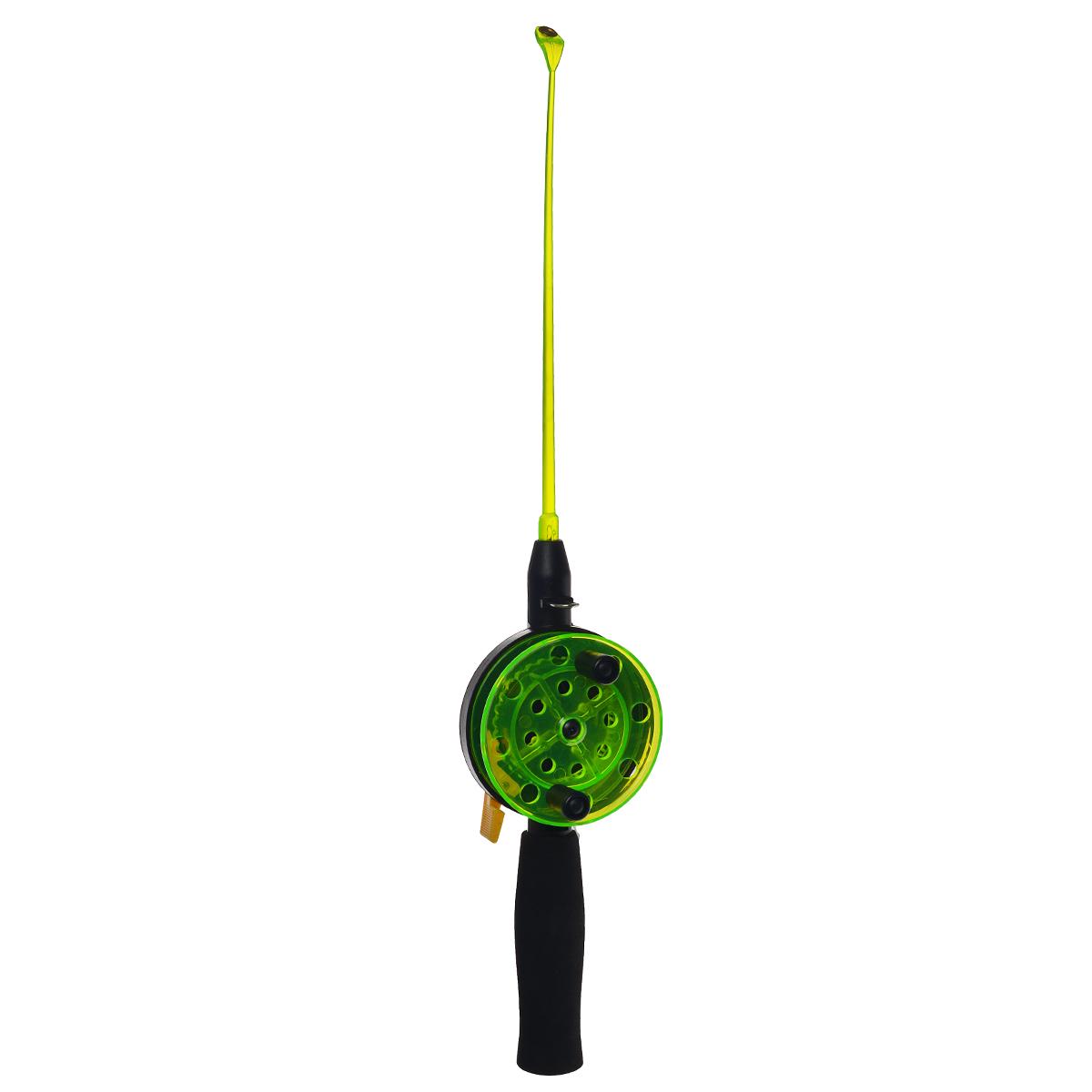 Удочка зимняя SWD HR201, цвет: черный, зеленый, 40 см28384Зимняя удочка SWD HR201 с открытой катушкой диаметром 76 мм и клавишным стопором. Оснащена пластиковым хлыстом длиной 20 см с тюльпаном на конце. Ручка длиной 100 мм выполнена из неопрена.