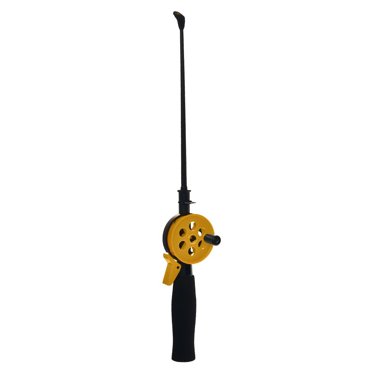 Удочка зимняя SWD HR402, цвет: черный, желтый, 38 см28390/BJX0111Зимняя удочка SWD HR402 с открытой катушкой диаметром 55 мм и клавишным стопором. Оснащена пластиковым хлыстом длиной 20 см с тюльпаном на конце. Ручка выполнена из неопрена.