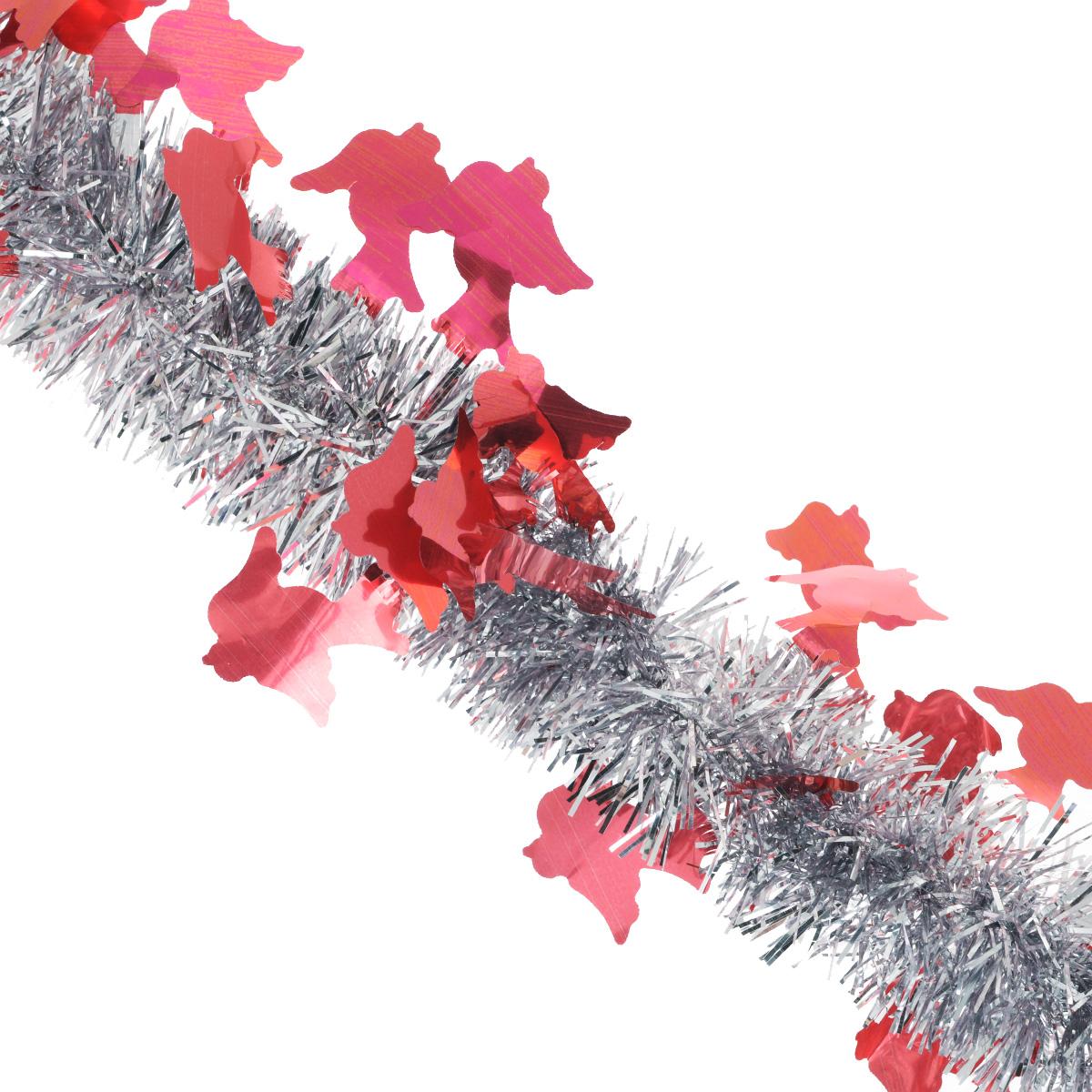 Мишура новогодняя Sima-land, цвет: серебристый, красный, диаметр 5 см, длина 2 м. 702618702618