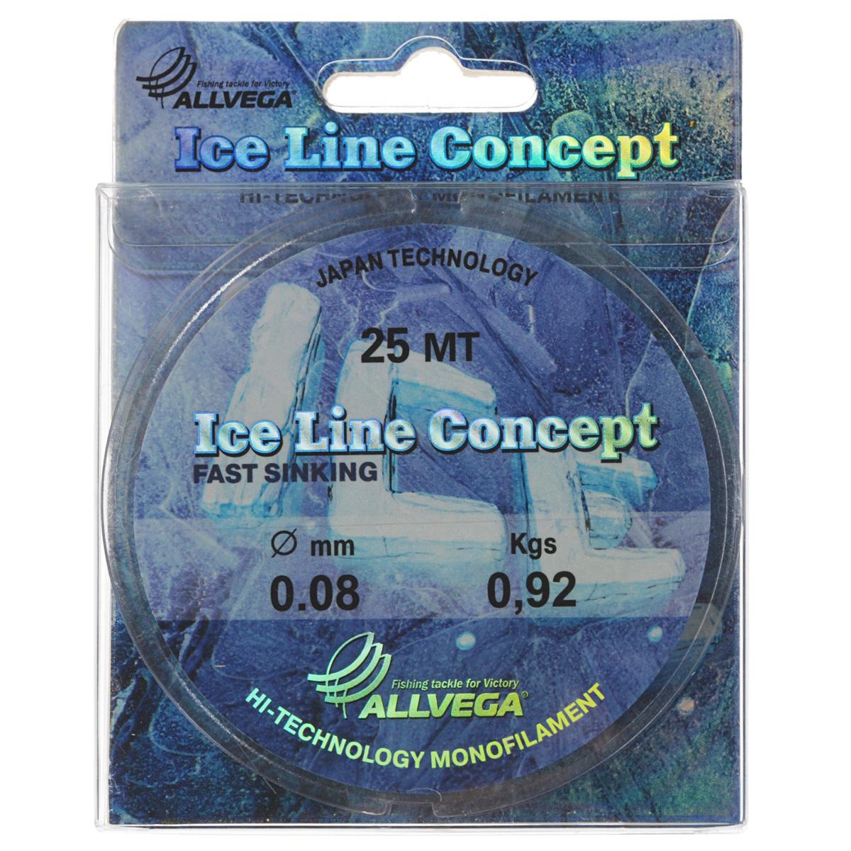 Леска Allvega Ice Line Concept, сечение 0,08 мм, длина 25 м36160Специальная зимняя леска Allvega Ice Line Concept для низких температур. Прозрачная и высокопрочная. Отсутствие механической памяти, позволяет с успехом использовать ее для ловли на мормышку.