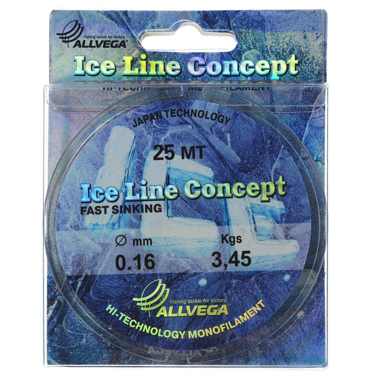 Леска Allvega Ice Line Concept, сечение 0,16 мм, длина 25 м36165Специальная зимняя леска Allvega Ice Line Concept для низких температур. Прозрачная и высокопрочная. Отсутствие механической памяти, позволяет с успехом использовать ее для ловли на мормышку.
