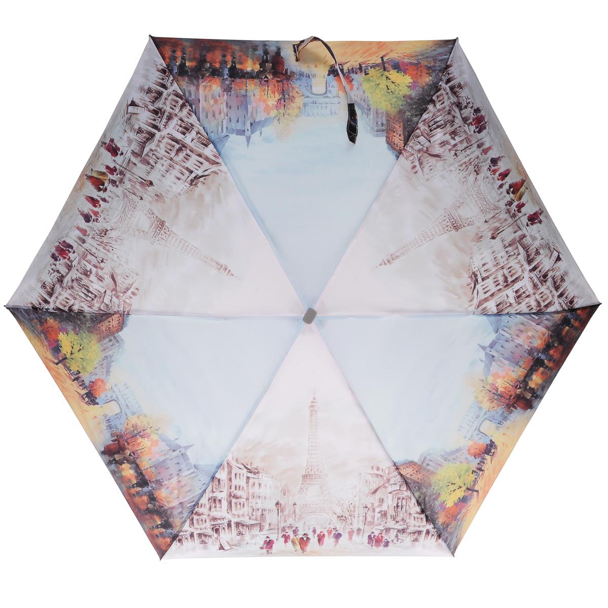 Зонт женский Zest, механический, 5 сложений, цвет: голубой, розовый. 25515-801825515-8018Очаровательный механический зонт Zest в 5 сложений изготовлен из высокопрочных материалов. Каркас зонта состоит из 6 спиц из фибергласса и прочного алюминиевого стержня. Специальная система Windproof защищает его от поломок во время сильных порывов ветра. Купол зонта выполнен из прочного полиэстера с водоотталкивающей пропиткой и оформлен изображением достопримечательностей Парижа. Используемые высококачественные красители обеспечивают длительное сохранение свойств ткани купола. Рукоятка, разработанная с учетом требований эргономики, выполнена из пластика. Зонт механического сложения: купол открывается и закрывается вручную до характерного щелчка. Небольшой шнурок, расположенный на рукоятке, позволяет надеть изделие на руку при необходимости. К зонту прилагается чехол. Такой зонт не только надежно защитит вас от дождя, но и станет стильным аксессуаром, который идеально подчеркнет ваш неповторимый образ.