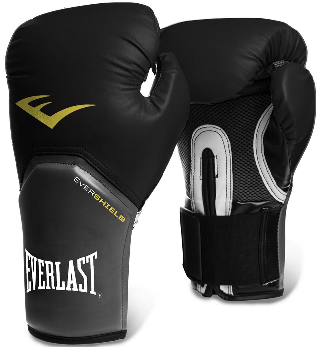 Перчатки тренировочные Everlast Pro Style Elite, цвет: черный, 14 унций2314EEverlast Pro Style Elite — тренировочные боксерские перчатки для спаррингов и работы на снарядах. Изготовлены из качественной искусственной кожи с применением технологий Everlast, использующихся в экипировке профессиональных спортсменов. Благодаря выверенной анатомической форме перчатки надежно фиксируют руку и гарантируют защиту от травм. Нижняя часть, полностью изготовленная из сетчатого материала, обеспечивает циркуляцию воздуха и препятствует образованию влаги, а также неприятного запаха за счет антибактериальной пропитки EVERFRESH. Комбинация легких дышащих материалов поддерживает оптимальную температуру тела. Модель подходит для начинающих боксеров, которые хотят тренироваться с экипировкой высокого класса.