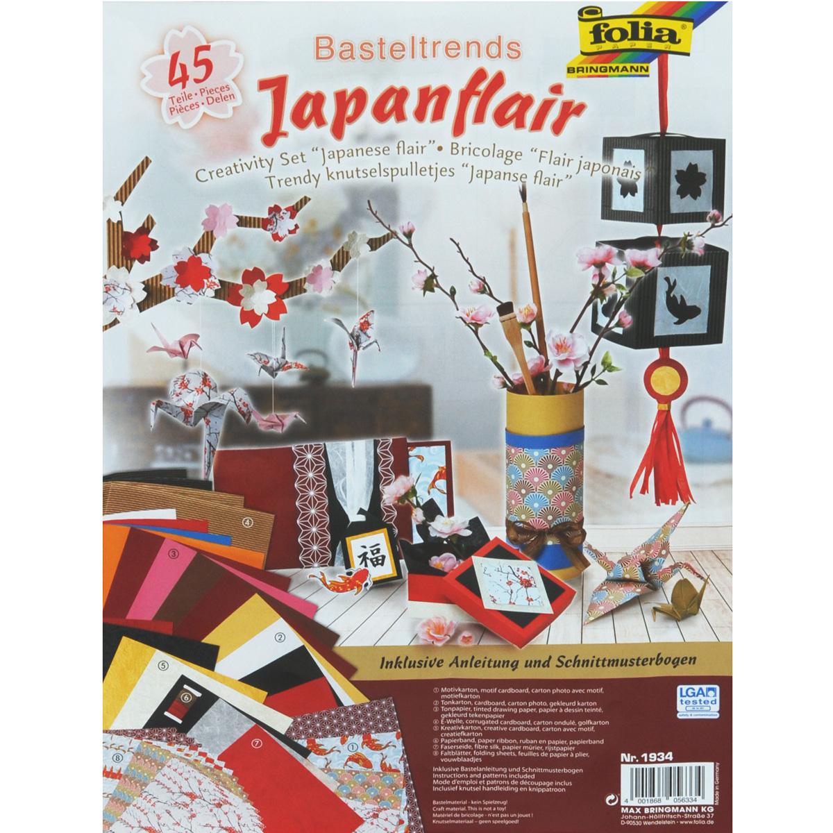 Набор дизайнерской бумаги для творчества Folia Японские мотивы, 45 элементов