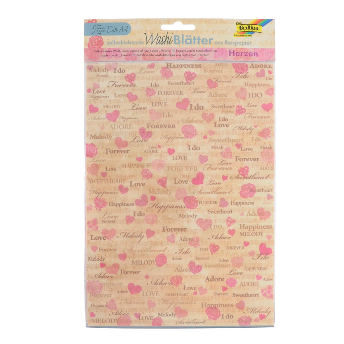 Рисовая бумага Folia Сердечки, самоклеящаяся, 29,5 x 21 см, 5 листов