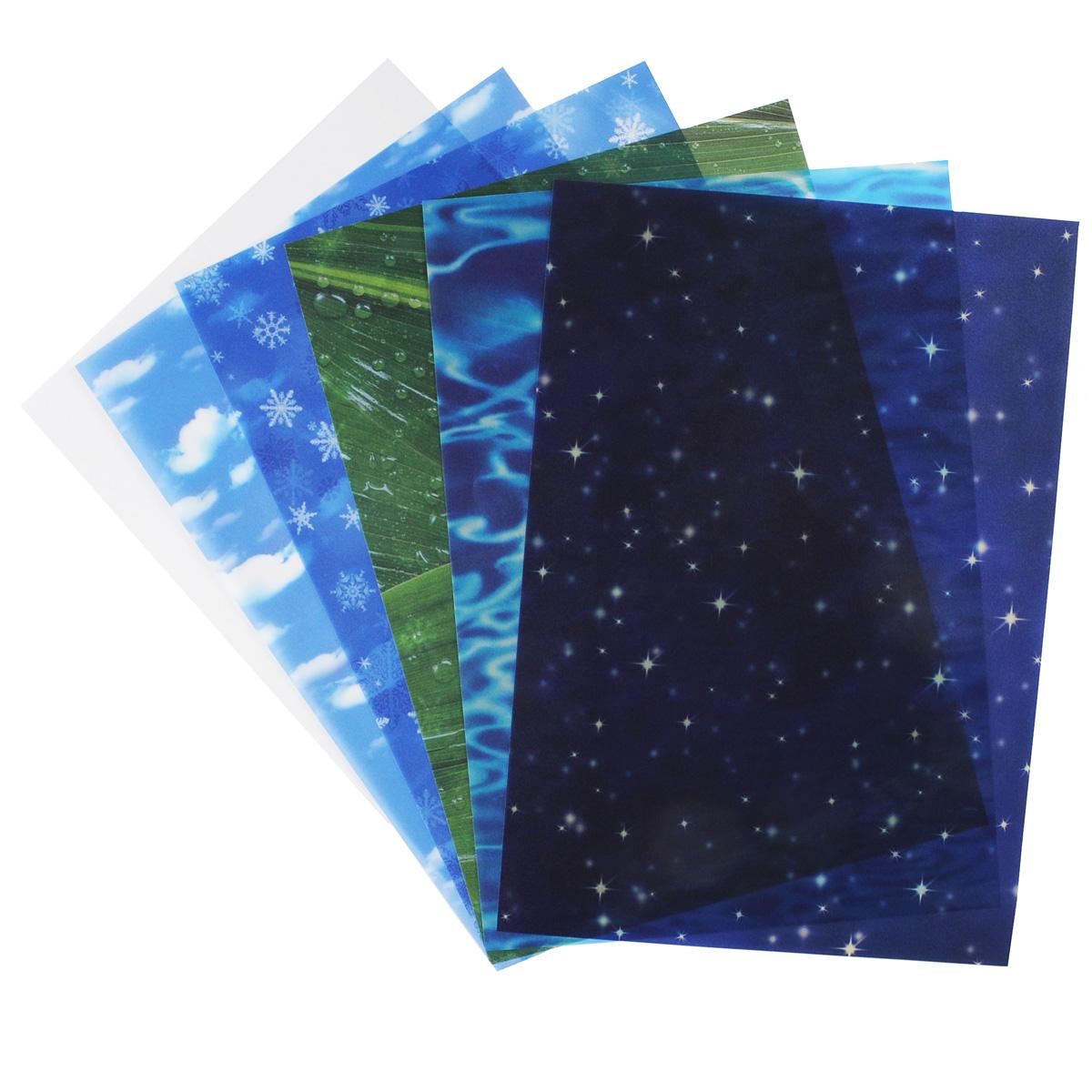 Транспарентная бумага Folia Элементы природы, 23 x 33 см, 5 листов7708092Транспарентная бумага Folia Элементы природы - полупрозрачная бумага с изображениями элементов природы: вода, снег, воздух и др. Используется для изготовления открыток, для скрапбукинга и других декоративных или дизайнерских работ. Бумага прекрасно держит форму, не пачкает руки, отлично крепится. Конструирование из транспарентной бумаги - необходимый для развития детей процесс. Во время занятия аппликацией ребенок сумеет разработать четкость движений, ловкость пальцев, аккуратность и внимательность. Кроме того, транспарентная бумага позволит разнообразить идеи ребенка при создании творческих работ.