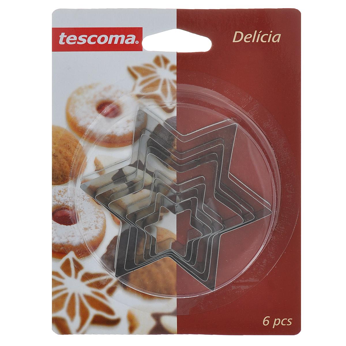 Формочки для печенья Tescoma Звезды, 6 шт631364Формочки для печенья Tescoma Звезды изготовлены из нержавеющей стали. В комплекте 6 формочек в виде звезд разного размера. Если вы любите побаловать своих домашних вкусным и ароматным печеньем по вашему оригинальному рецепту, то набор формочек для печенья Звезды как раз то, что вам нужно! Такие формочки идеально подойдут для вырезания теста при выпечке печенья. Не подходят для мытья в посудомоечной машине.