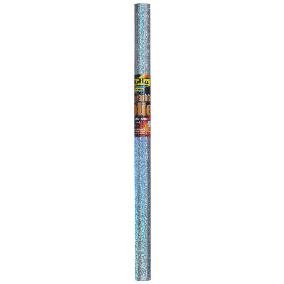 Голографическая бумага Folia Глиттер, самоклеящаяся, цвет: серебристый, 40 x 100 см
