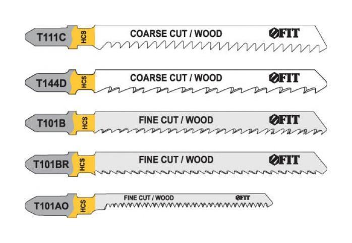 Набор полотен для электролобзика по дереву Fit, 5 шт41010Набор полотен