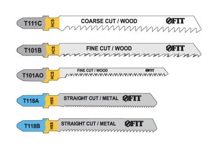 Набор полотен для электролобзика, 5 шт (T111C; T101BR; T101AO; T118A; T118B)